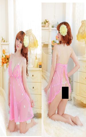 Lingerie AL046 Pink  harga Rp 83.000,- all size fit to L, belahan di bag blkang, ada kait n bordir bunga putih. bahan siffon