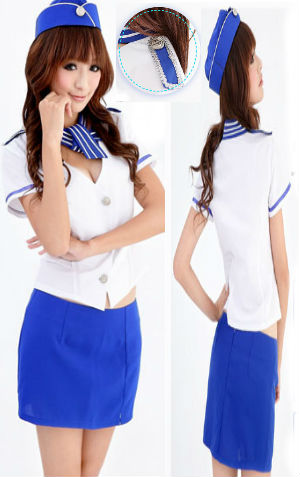 Costume Pramugari CAA05  Rp 100.000 termasuk rok, atasan, topi n dasi. Lingkar pinggang=74cm n dpt melar krn ada karetnya, LD Maks=90cm, P atasan=50cm