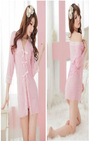 Kimono Bikini KAA48 Pink  harga Rp 90.000,- all size fit to L, termasuk bra tali, g string tali n kimono. Bahan siffon