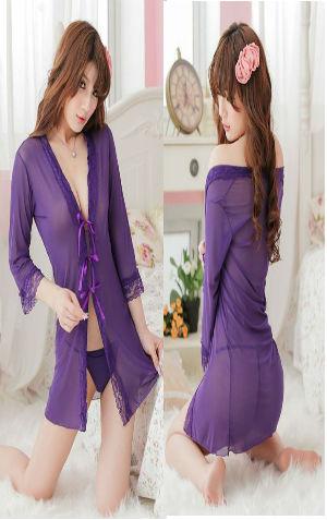 Kimono Bikini KAA48 Purple  harga Rp 90.000,- all size fit to L, termasuk bra tali, g string tali n kimono. Bahan siffon warna asli ungu kebiruan
