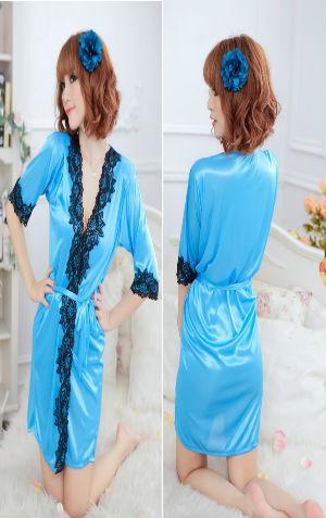 Kimono L110 Blue  Harga Rp 95.000,- Termasuk G string dan ikat pinggang. bahan silky, P=67cm