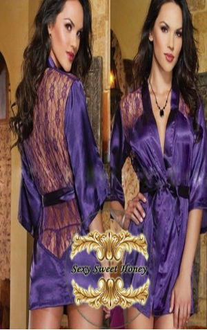 Kimono Kvl004 PURPLE Rp 100.000,- bahan bag depan silky, belakang lace P:80cm all size fit to L include g string n belt