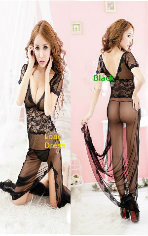 Lingerie Long Dress AL757 Black  harga Rp 105.000,-  bahan polyester lembut, ada belahan d bag depan, P=140cm