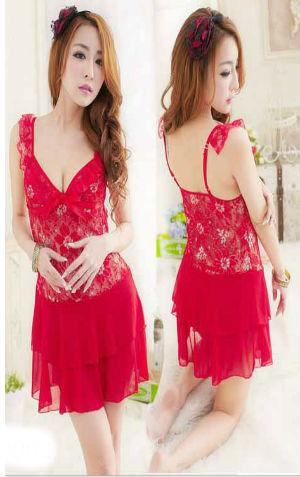 Lingerie Merah Transparan AA020  harga Rp 95.000,- All size fit to L, bahan lace dan sifon lembut