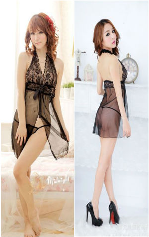 Lingerie AA605 Black  harga Rp 85.000,- all size fit to L bahan siffon.