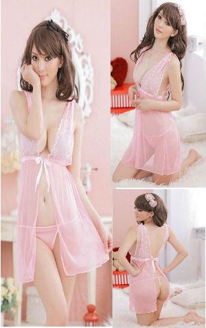 lingerie VL095 Pink Rp 85.000,-bahan siffon dapat dipakai dalam 2 model seperti gambar