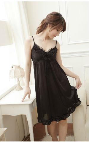 Sleepwear VL05 Black Rp 100.000  bahan silky tidak termasuk G string