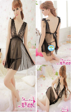 lingerie VL095 Black Rp 85.000,- bahan siffon dapat dipakai dalam 2 model seperti gambar